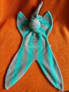 Cuski Original Fabby Green Grey Striped Comforter Baby Comfort Blanket Soft Toy