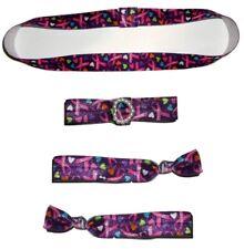 4pcs PINK RIBBON Stretch Headband Bracelet & Hair Ties Breast Cancer Awareness