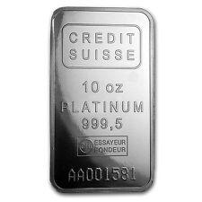 10 oz Platinum Bar - Credit Suisse (.9995 Fine, w/Assay) - SKU #88221