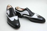 Cuir noir et blanc Oxford Chaussures à lacets Wingtip à la main pour hommes