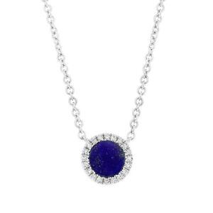 0.37 TCW 14K White Gold Natural Lapis Lazuli Diamond Circle Pendant Necklace