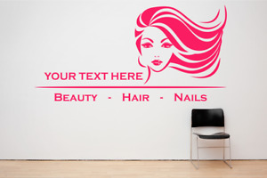 Hair, Beauty & Nails Custom Salon Shop Wall Window decal sticker art, Any Size.