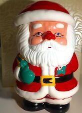 "Santa Cookie Jar Holiday Christmas Curly Beard Tree Red Green 11"" Tall Ceramic"