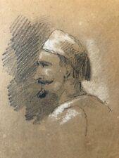 Portrait d'homme fusain et craie vers 1840 dessin original