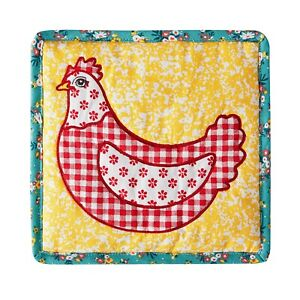 Pioneer Woman Patchwork Quilted Rooster Trivet Farm Country-Chic Kitchen Decor