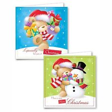 Cute Glitter Bear and Snowman Christmas Cards 10 Pack with Envelopes - FCBR