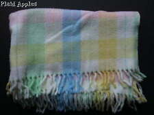 Vintage Tennessee Woolen Mills Baby Blanket Acrylic Fringe Plaid Pastel Fringed