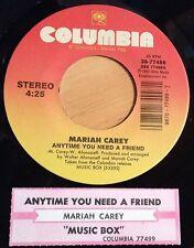 Mariah Carey 45 Anytime You Need A Friend / Music Box  NM  w/ts
