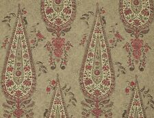 "ZOFFANY CURTAIN FABRIC ""Koyari Paisley"" 1.7 METRES ANTIQUARY/CRIMSON/LINEN WOOL"