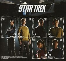 St Kitts 2016 MNH Star Trek 6v M/S Spock Kirk Uhura Sulu Bones Stamps