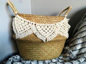 Boho Macrame Storage Basket Handmade
