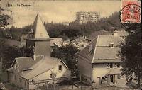 1908 Stempel Saint-Cergues mit Briefmarke Helvetia AK Postkarte Carte Postale