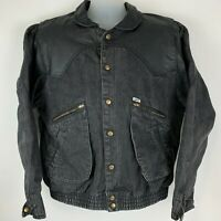 Vintage 1986 GUESS Georges Marciano XL X-Large Jean Jacket Black Denim Leather