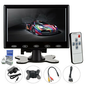 1x 7inch Monitor LCD Display Touch Screen AV/VGA/HDMI Security + Adapter New