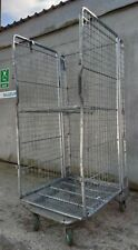More details for metal warehouse roll cage - 3 sided w/ shelf and floor fully folding