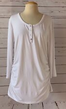 0b84378f079f3 ISABELLA OLIVER Maternity Size 5 / US 12-14 White Ruched Scoop Neck Top