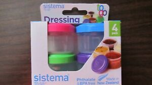 Sistema Dressing to go storage container  4 pack.  #21470  1.18 oz. each NEW