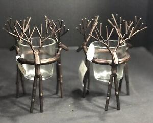 "Brown Metal Deer Candle Holder Votive Or Tealight New 2 Piece Set 6""Hx5""Lx5""W"