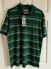 New listing Under Armour Men's Medium HG Loose Fit Polo Golf Green Striped Shirt NEW