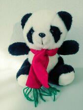 "Plush Panda Bear Black/White Stuffed Animal 9"" Tall Red Scarf"