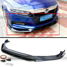 For 18-20 Accord 4Pcs Carbon Fiber Painted Sport Style Front Bumper Lip Spoiler