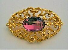 purple glass filigree oval brooch J47:) Vintage gold tone mauve
