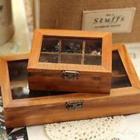 Retro Vintage Wooden Jewelry Storage Box Clear Cover Holder Organizer Craft Case