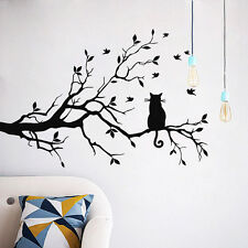 Cat On Long Tree Branch Birds Wall Sticker Art Vinyl Decal Home Room Decor Mural