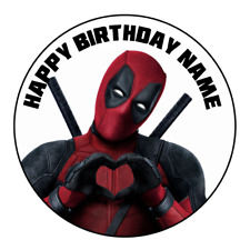 Deadpool 2 Personalised Edible Cake Topper Birthday Party Decoration Image