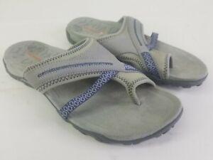Merrell Terran Post II Slide Sleet Leather Thong Sandals Women's 7 Gray J03254