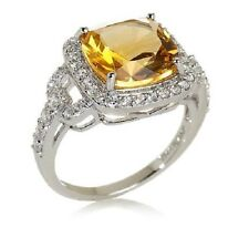 Rarities Sterling Silver Citrine Zirconia Cocktail Ring Size 6