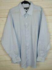 Pronto Uomo Mens Long Sleeve Light Blue Striped Button Up Shirt Size 18 (36/37)