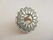 Karen Hill Tribe Adjustable Flower Cut-Out Disc Silver Ring ~Tribal Belly Dance
