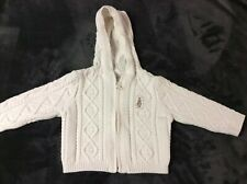 Beatrix Potter Premium Collection Hooded Cable Knit Full Zip Ivory Sweater 6-12