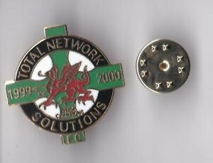 """Total Network Solutions """"Welsh Champions 1999 - 2000"""" - badge butterfly fitting"""