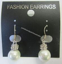 New Drop Earrings Pearl & Diamonte Dangle Earring Sparkling Silver Tone Fashion