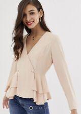 ASOS long Sleeve Pink Tux Button Top Size 10