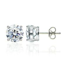 Sterling Silver 8mm Round Solitaire Stud Earrings made with Swarovski Zirconia