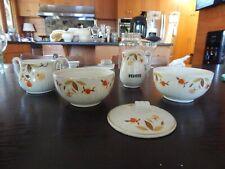 5 PC LOT Jewel Tea Hall Autumn Leaf 1 RAYED SUGAR 2 DRIP BOWLS & RANGE PEPPER