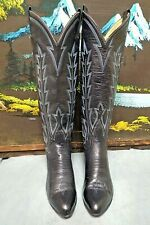 Vintage Laramie Handmade Tall Cowboy Boots Black/Blue Womens Size 5D