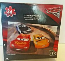 "Disney Pixar Cars Super 3D 24 Piece Puzzle 18"" X 12""  NIB Ages 4+"