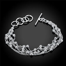 New Women Fashion Jewelry 925 Sterling Silver Snake Chain Beads Bangle Bracelet