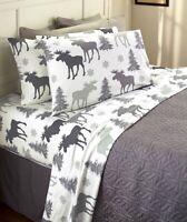 Moose Queen Cotton Flannel Sheet & Pillowcase Lodge Log Cabin Bedroom Set 4-Pc