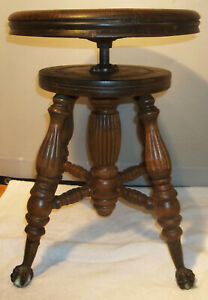 Antique Chas Parker Co Adjustable Piano Stool Glass Ball Claw Foot Oak Seat