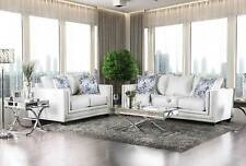 NEW Modern Design Living Room Off White Fabric Sofa Couch Loveseat Set IGEP