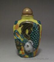 Rare Chinese Porcelain Gild Famille Rose Carp Fish&Poetry Snuff Bottle.Mark