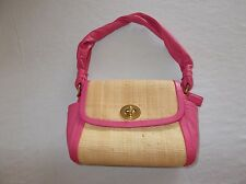 Coach brand basket weave and pink leather Women's small size handbag purse nice