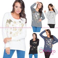 Ladies Asymmetric Top Golden Print Jumper Pullover Blouse Shirt Size 8-14 FT2141