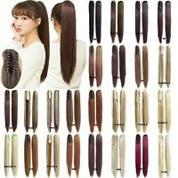 Women Synthetic Claw Clip Ponytail Long Straight Thick Pony Tail Hair Extensions