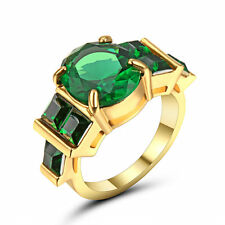 Size 6 Vintage Green Emerald Crystal Wedding Ring 10k Yellow Gold Filled Jewelry